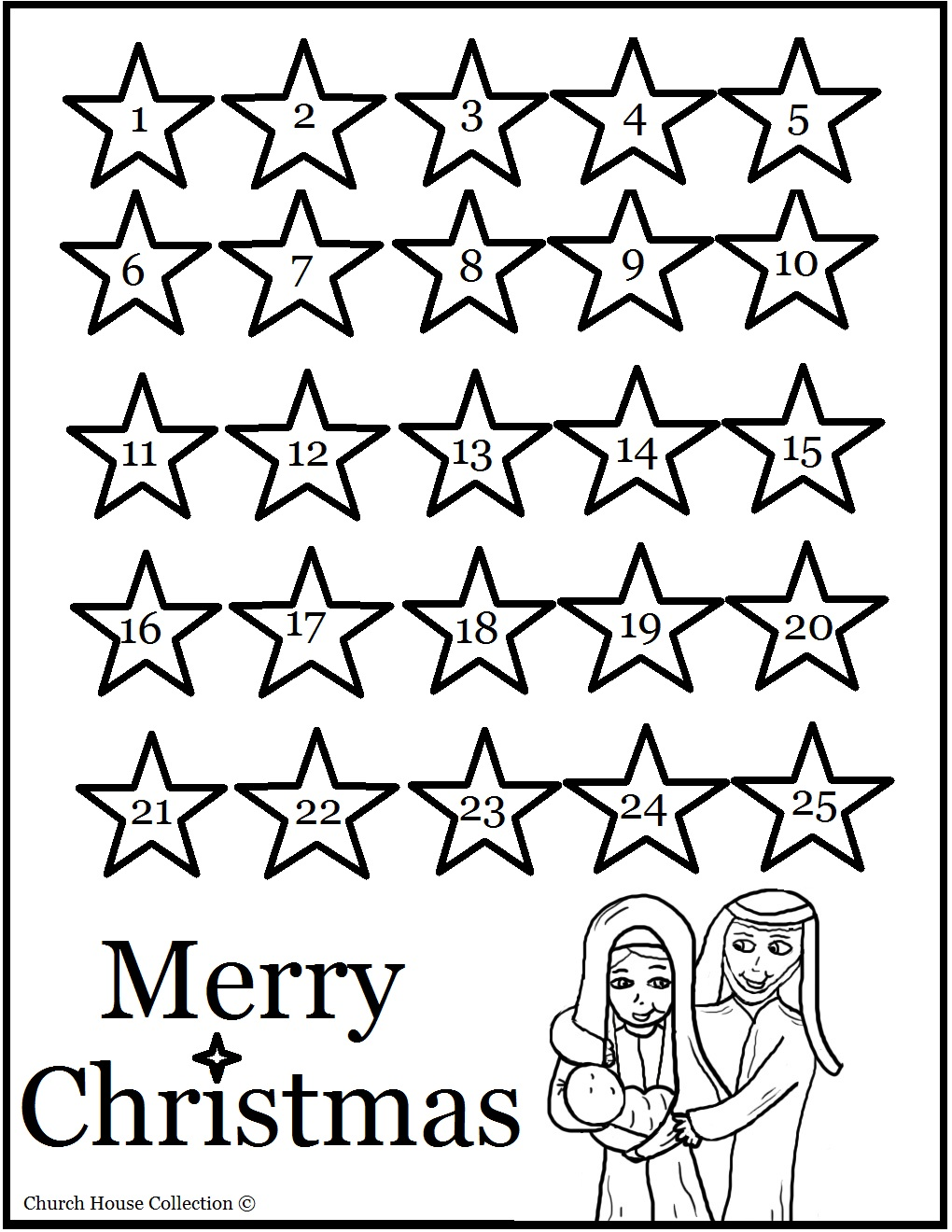Free Christmas Advent Calendar Coloring Pages with Stars printable