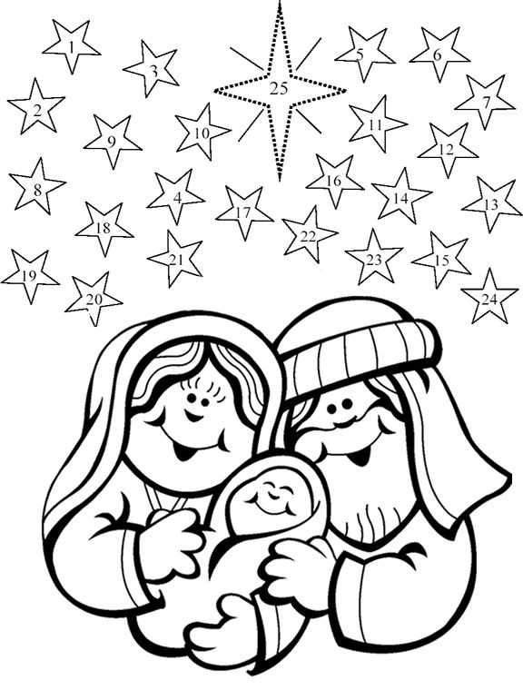 Free Christmas Advent Coloring Pages Black and White printable