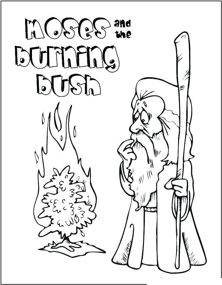 Free Christmas Advent Coloring Pages Moses Burning Bush printable