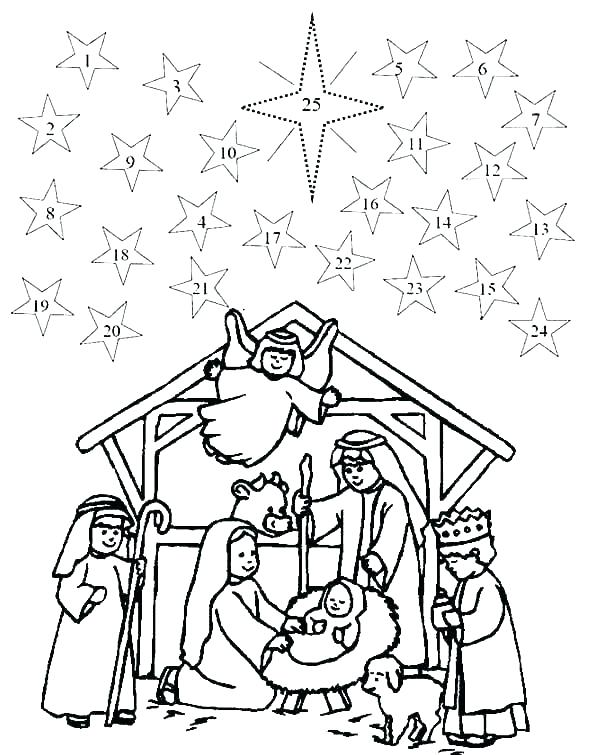 Free Christmas Story of Advent Coloring Pages printable