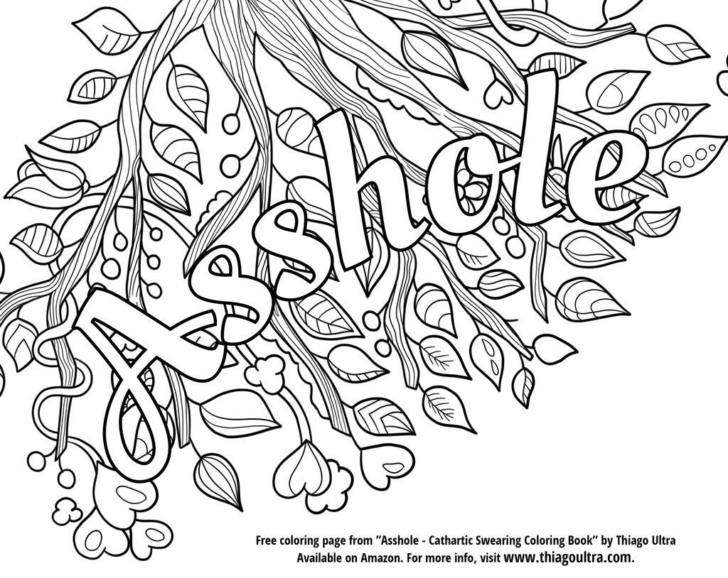 Free Cuss Word Asshole Coloring Pages printable