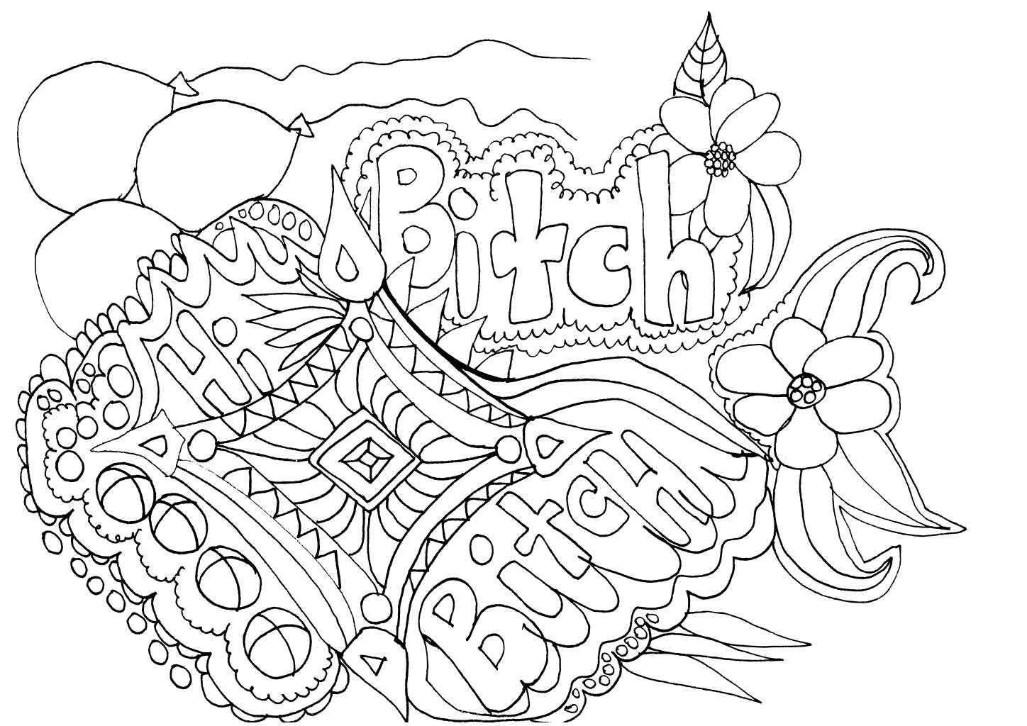 Free Cuss Word Btich Coloring Pages printable