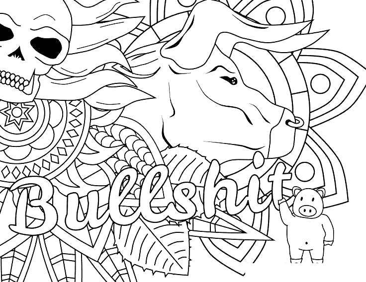 Free Cuss Word Coloring Pages Black and White printable