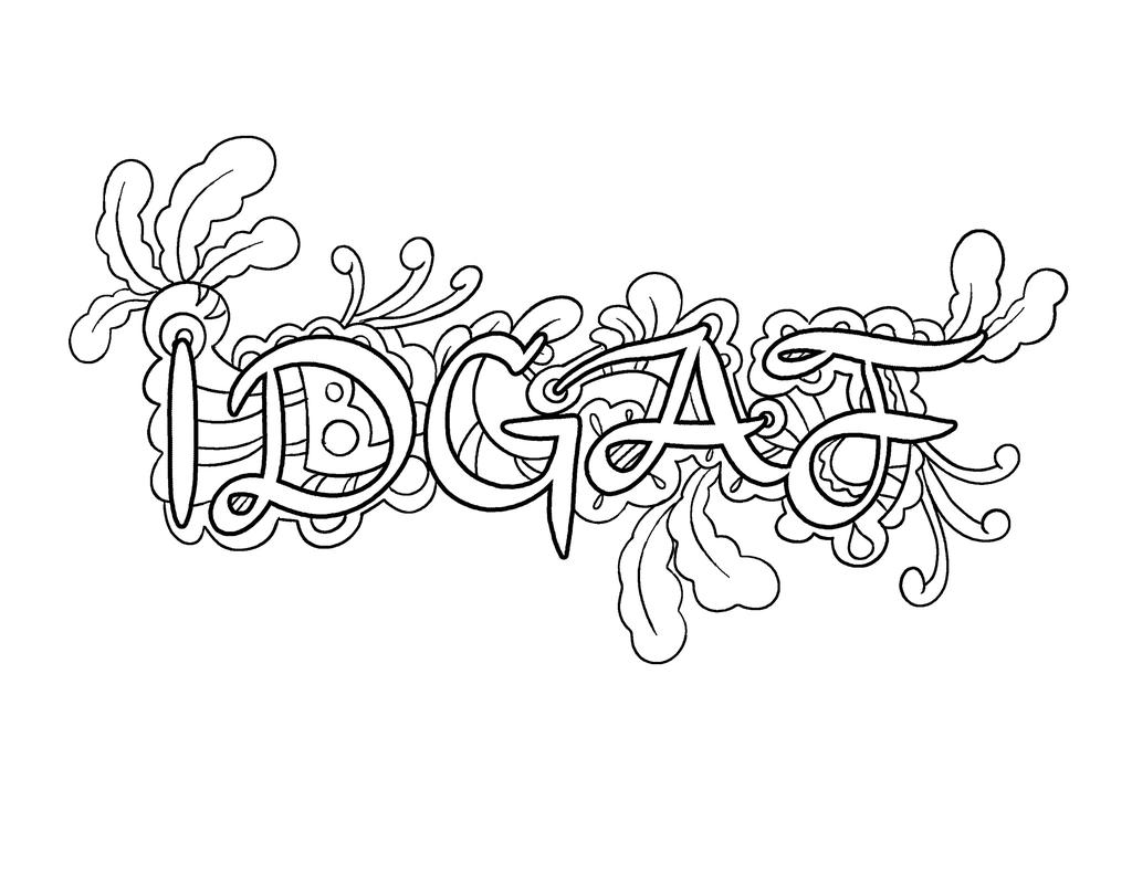 Free Cuss Word Coloring Pages IDGAF printable