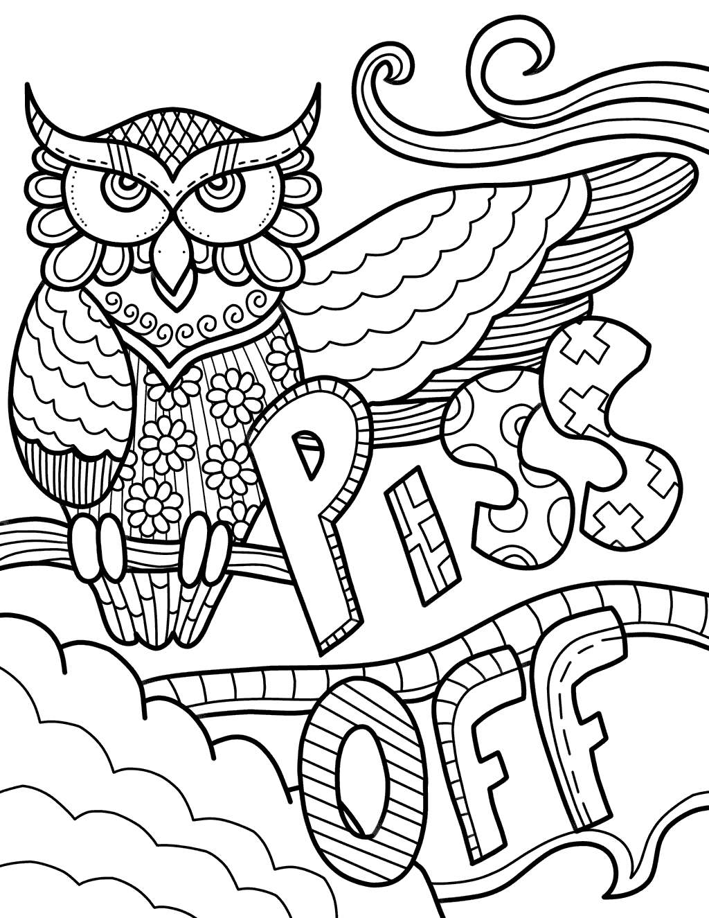 Free Cuss Word Coloring Pages Piss Off printable