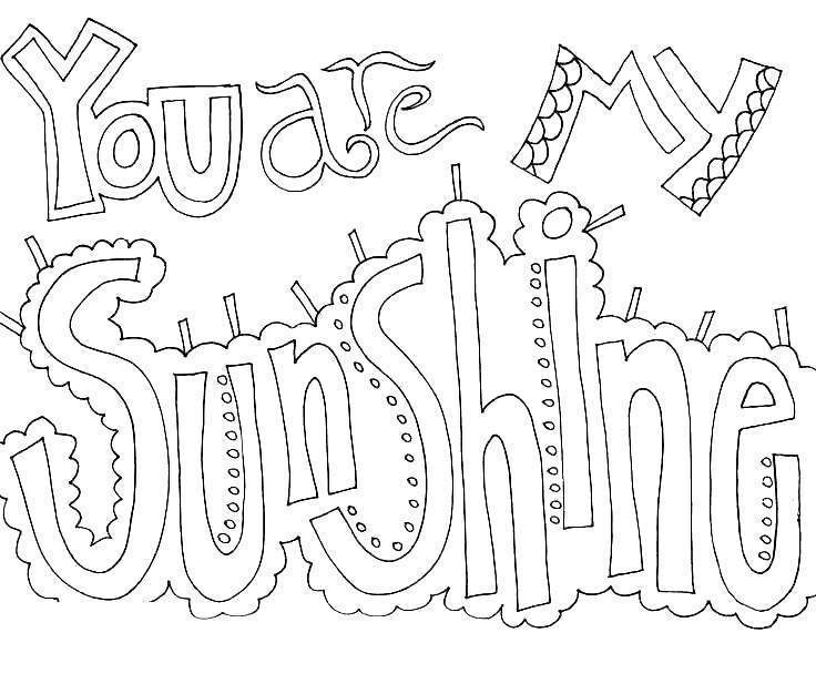 Free Cuss Word Coloring Pages You are my sunshine printable