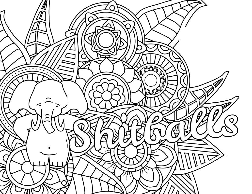 Free Cuss Word Shitballs Coloring Pages with Elephant printable