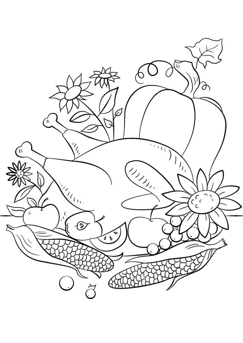 Free Delicious Thanksgiving Food Coloring Pages printable