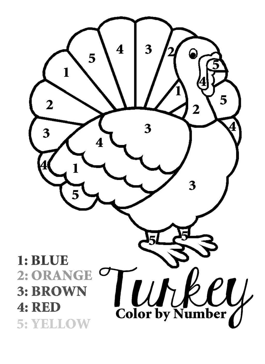 Free Free Turkey Coloring Sheets Color by Number printable
