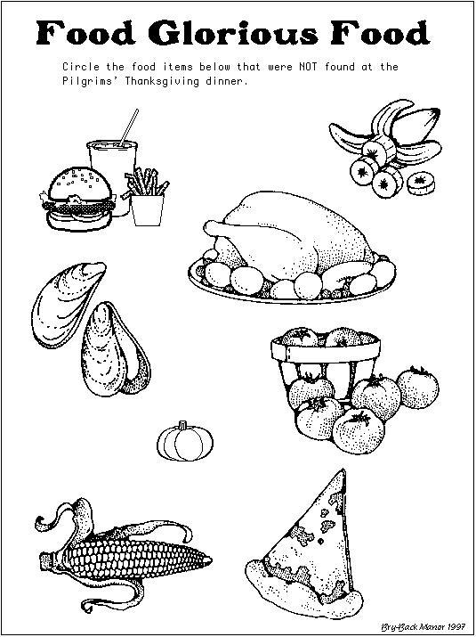 Free Glorious Thanksgiving Food Coloring Pages printable