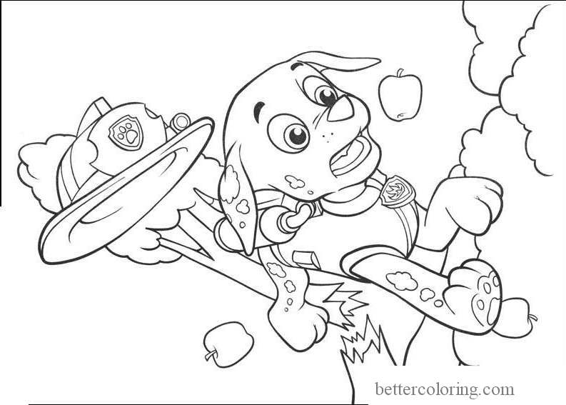 Free Marshall from Paw Patrol Thanksgiving Coloring Pages printable