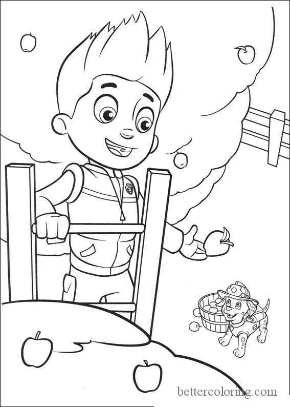 Free Paw Patrol Thanksgiving Coloring Pages Apple Trees printable
