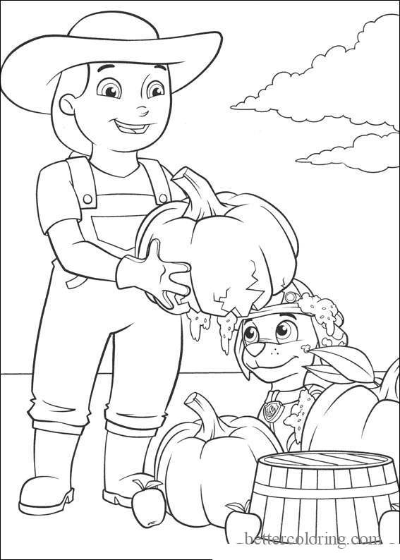 Free Paw Patrol Thanksgiving Coloring Pages Farmer and Pumpkins printable
