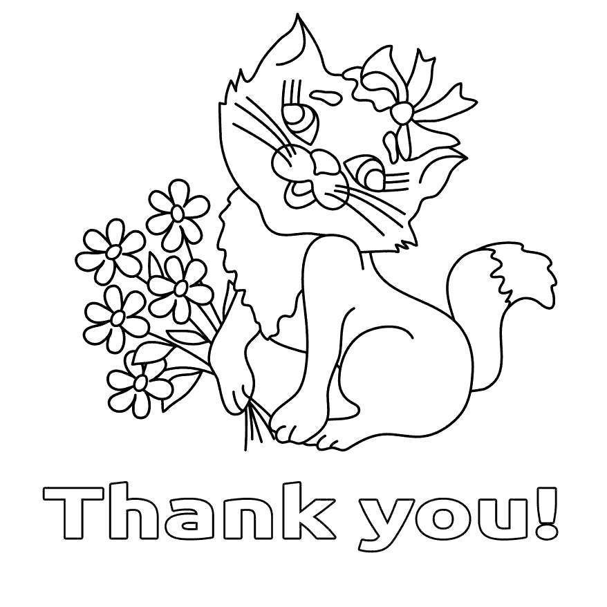 Free Thank You For Your Service Coloring Pages Cat printable