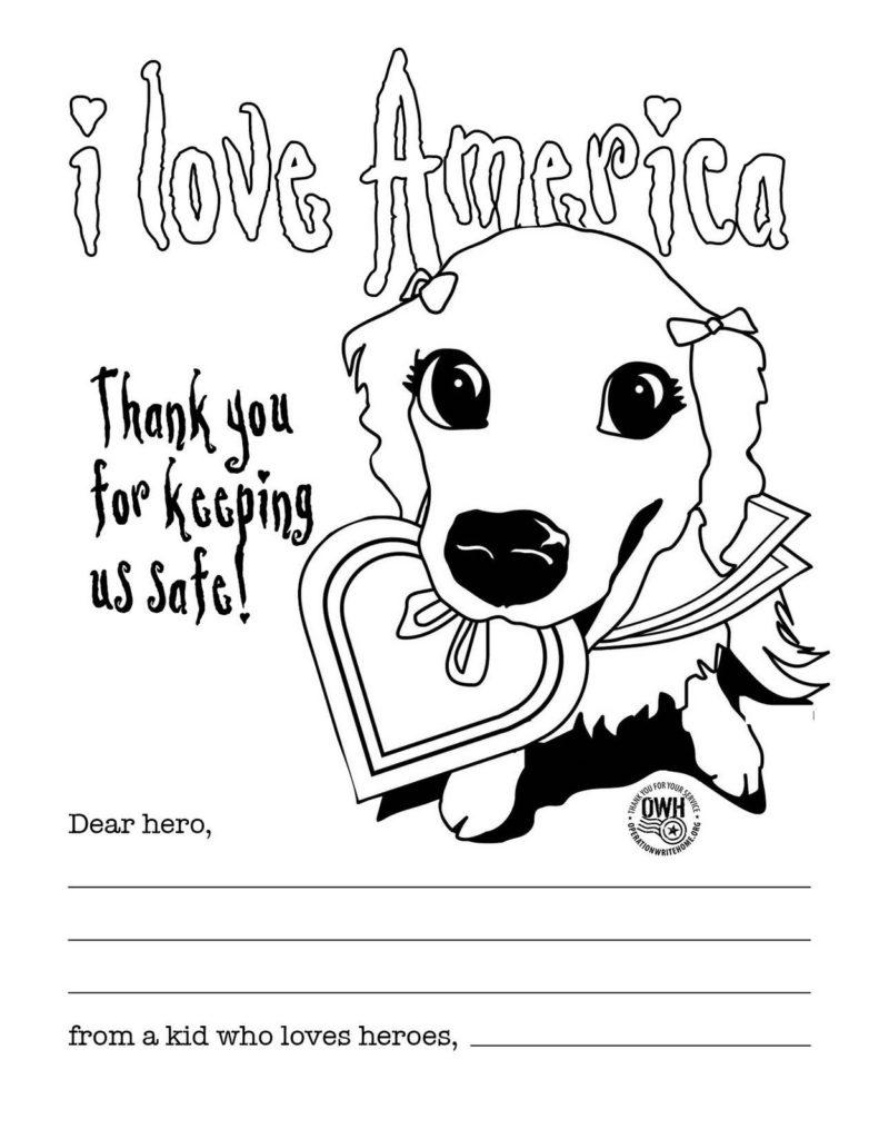 Free Thank You For Your Service Coloring Pages I Love America printable