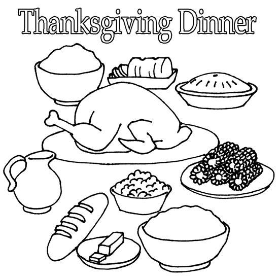 Free Thanksgiving Dinner Food Coloring Pages printable
