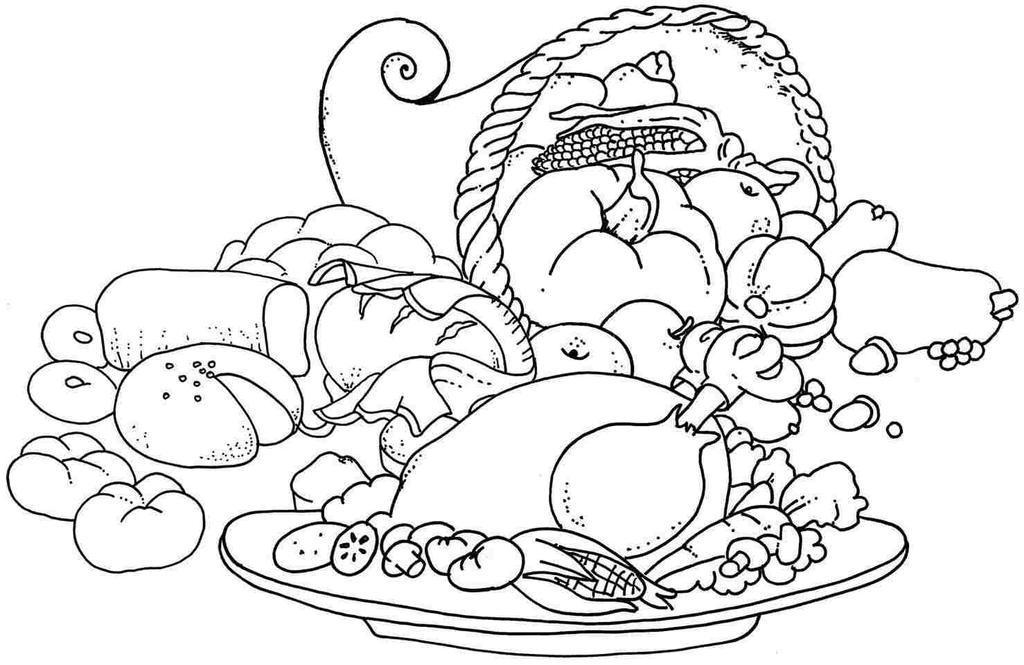 Free Thanksgiving Food Coloring Pages Black and White printable