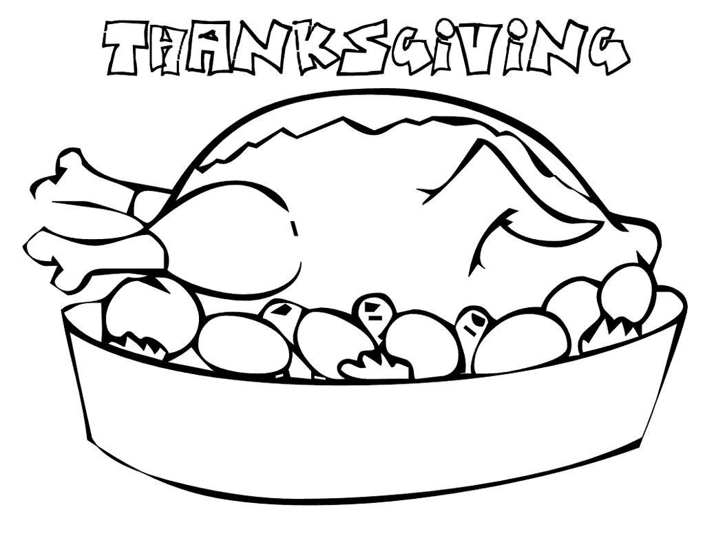 Free Turkey for Thanksgiving Food Coloring Pages printable