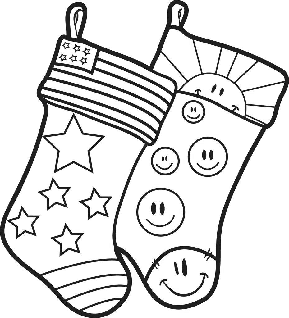 Free American Stocking Coloring Pages printable