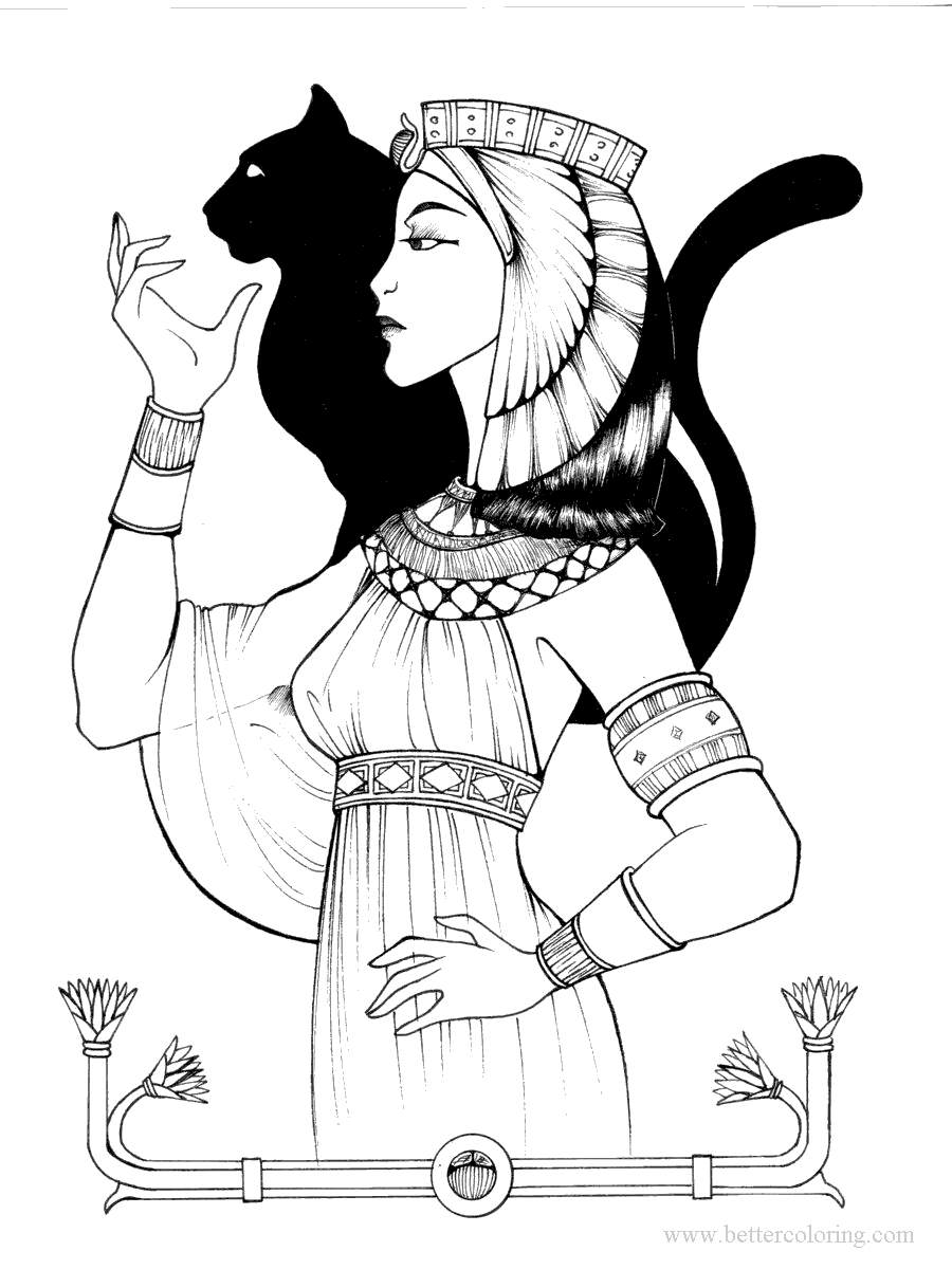 Free Ancient Egyptian Cat God Coloring Pages printable