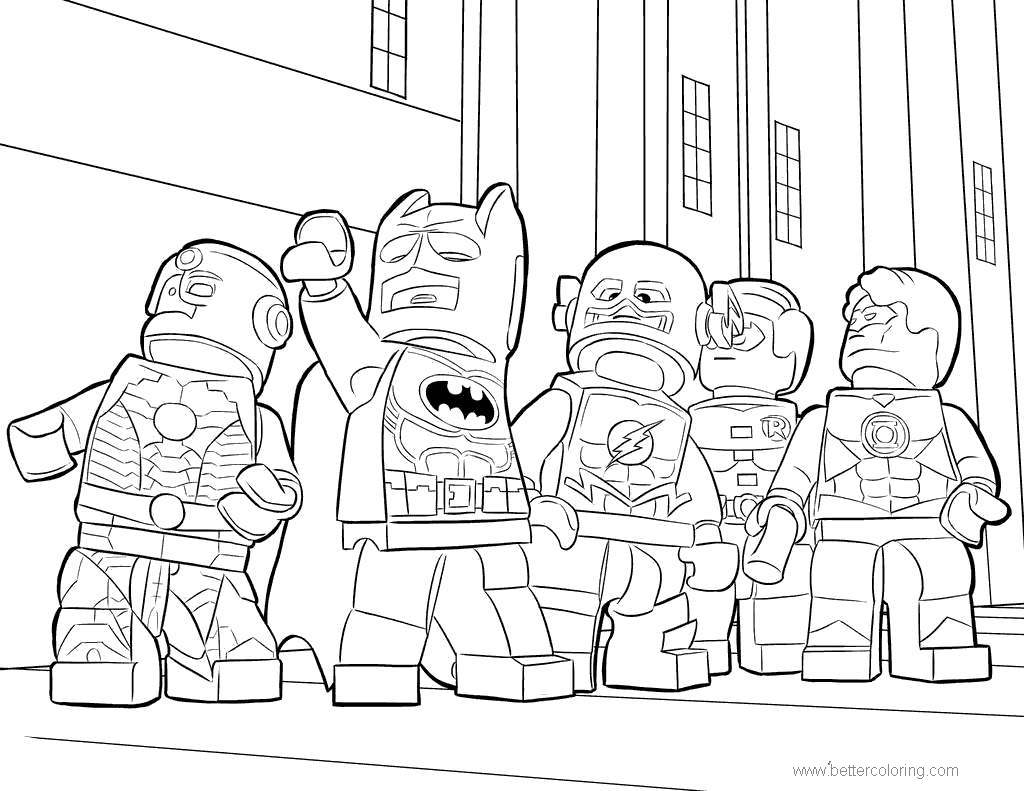 Free Batman and Friends from Lego Movie Coloring Pages printable