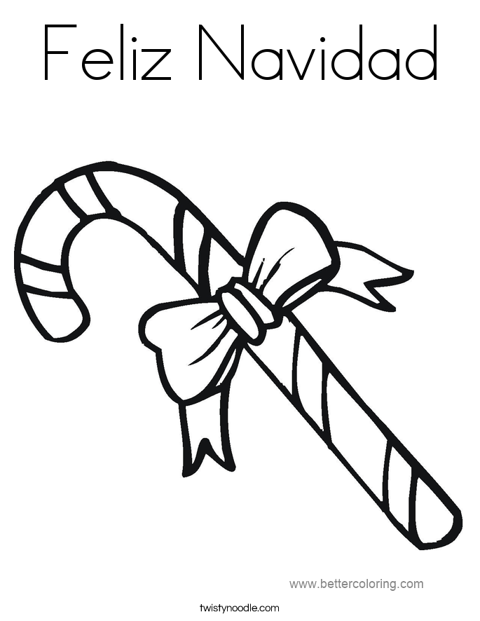 Free Candy Cane of Feliz Navidad Coloring Pages printable