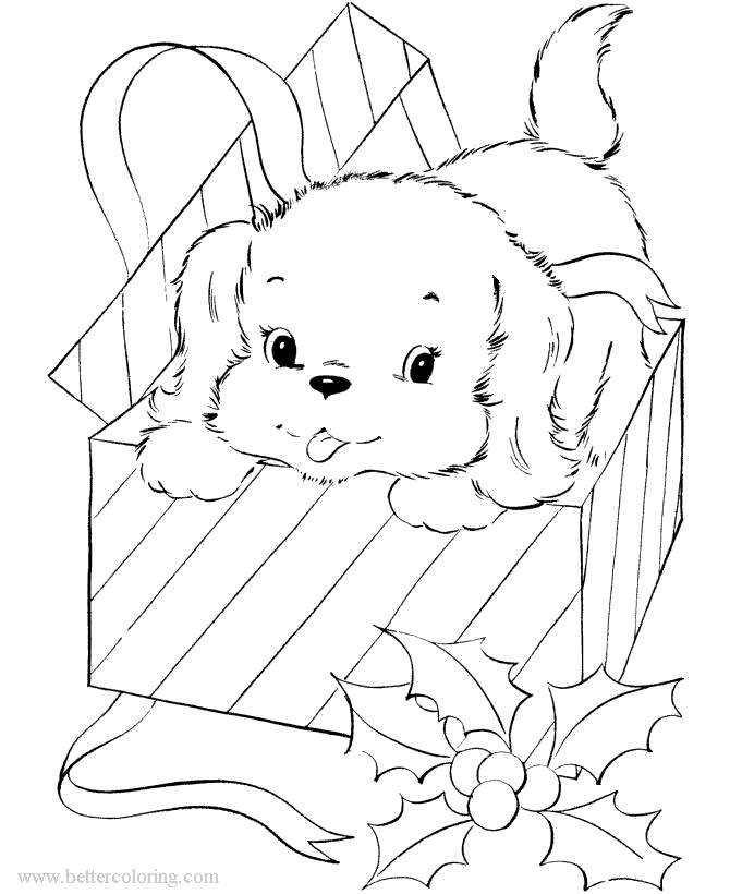 Free Christmas Dog Coloring Pages printable