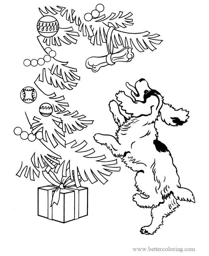 Free Christmas Dog Jumping Coloring Pages printable