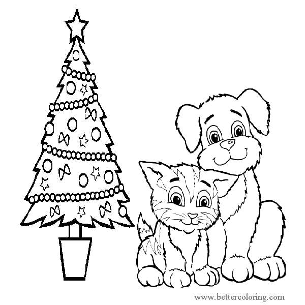 Free Christmas Dog and Cat Coloring Pages printable