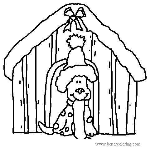 Free Christmas Dog in Hat Coloring Pages printable