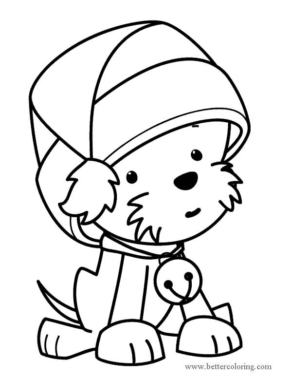 Free Christmas Dog with Bell Coloring Pages printable