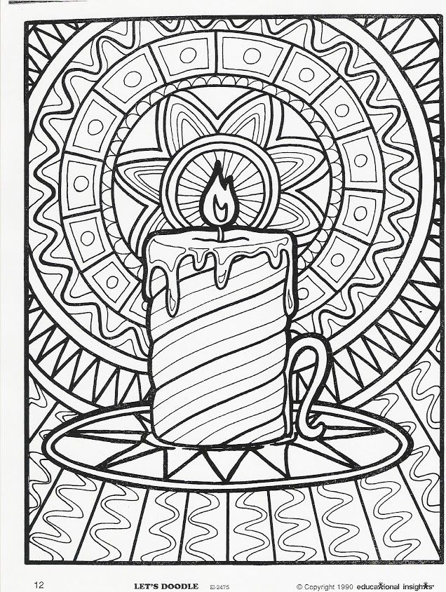 Free Detailed Candle for Christmas Coloring Pages printable