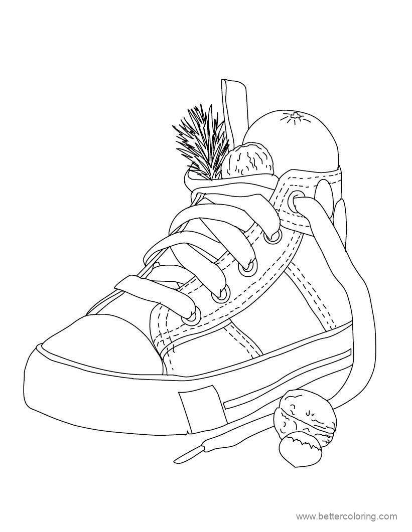 Free Detailed Christmas Boot Coloring Pages printable