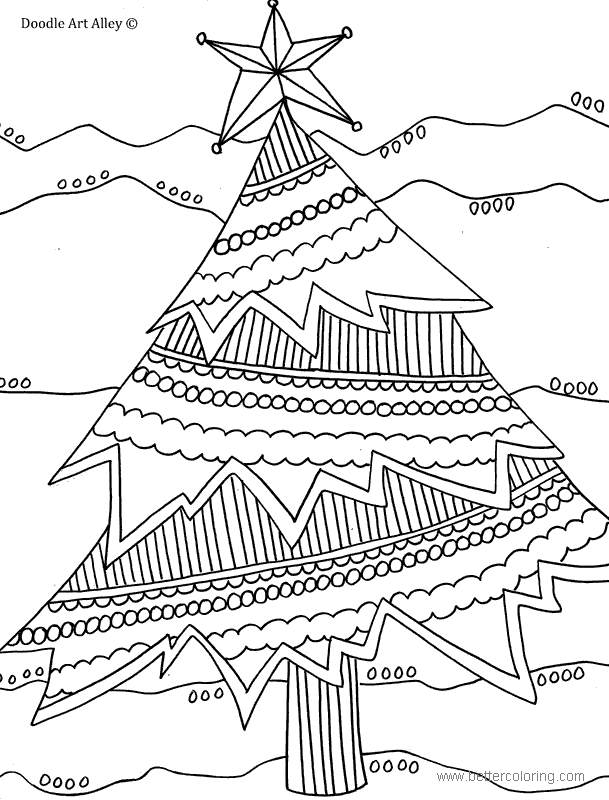 Detailed Christmas Tree with Star Coloring Pages - Free ...