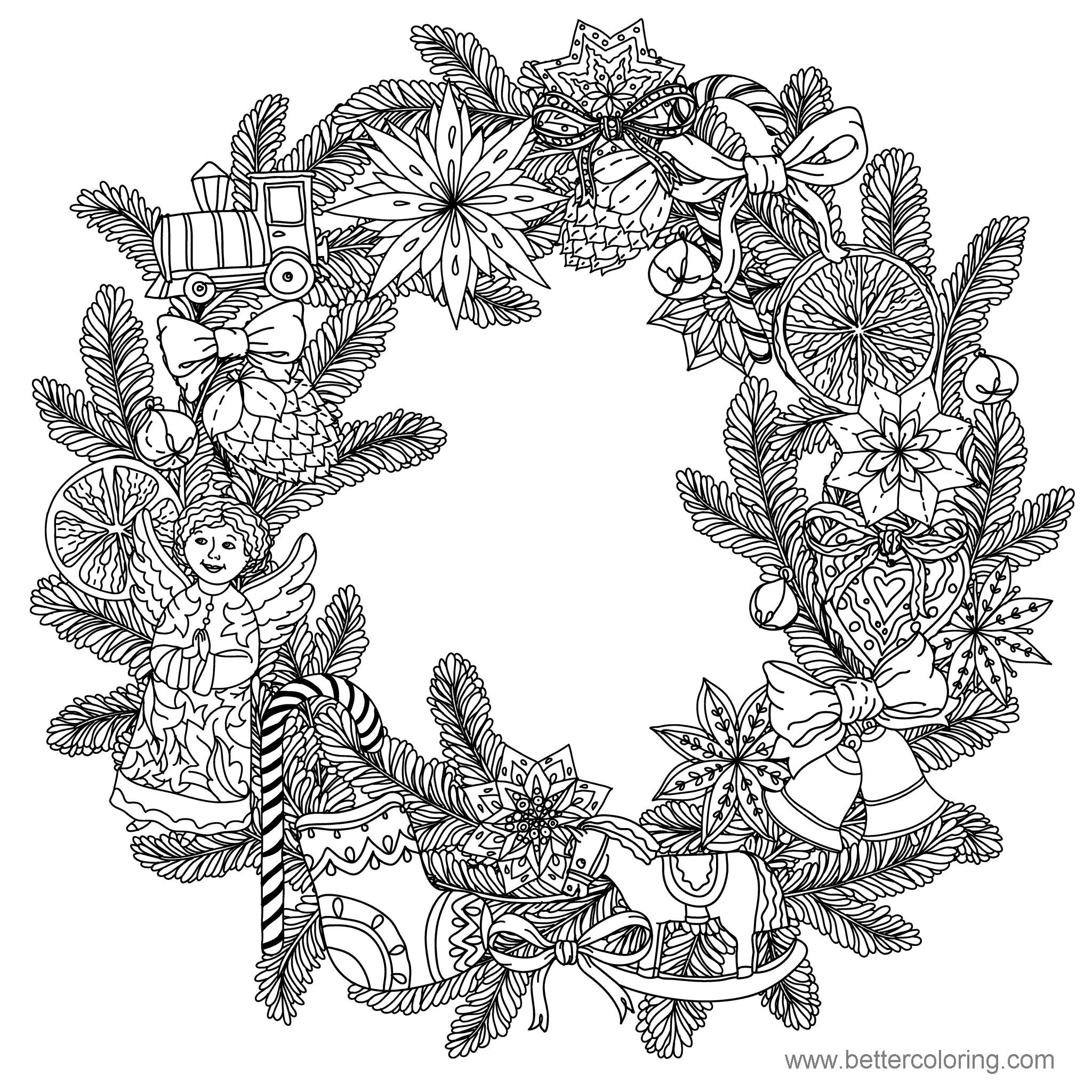 Free Detailed Christmas Wreath Coloring Pages printable