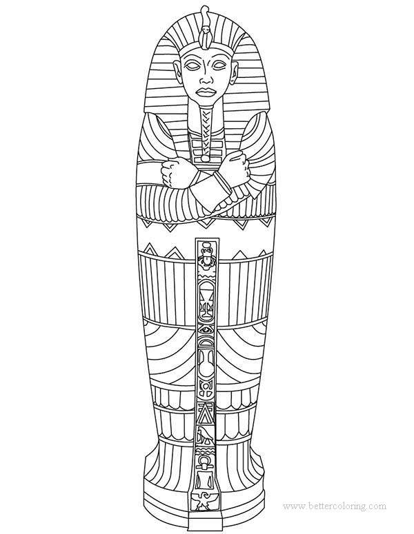 Free Egyptian Pharaoh Mummy Coloring Pages printable