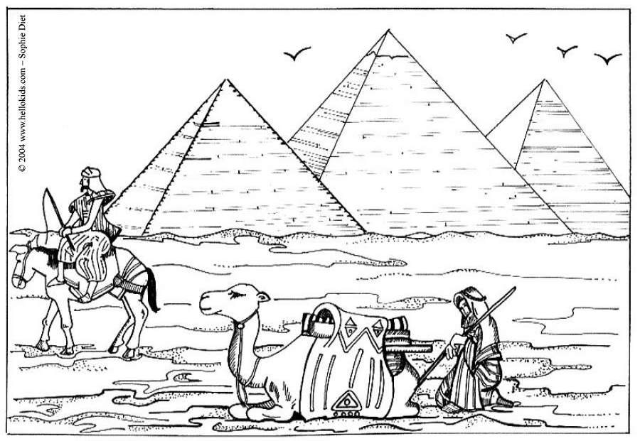 Free Egyptian Pyramid and Camel Coloring Pages printable