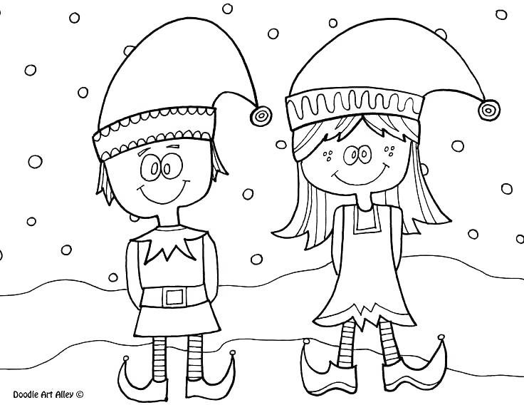 Free Elf On The Shelf Boy and Girl Coloring Pages printable