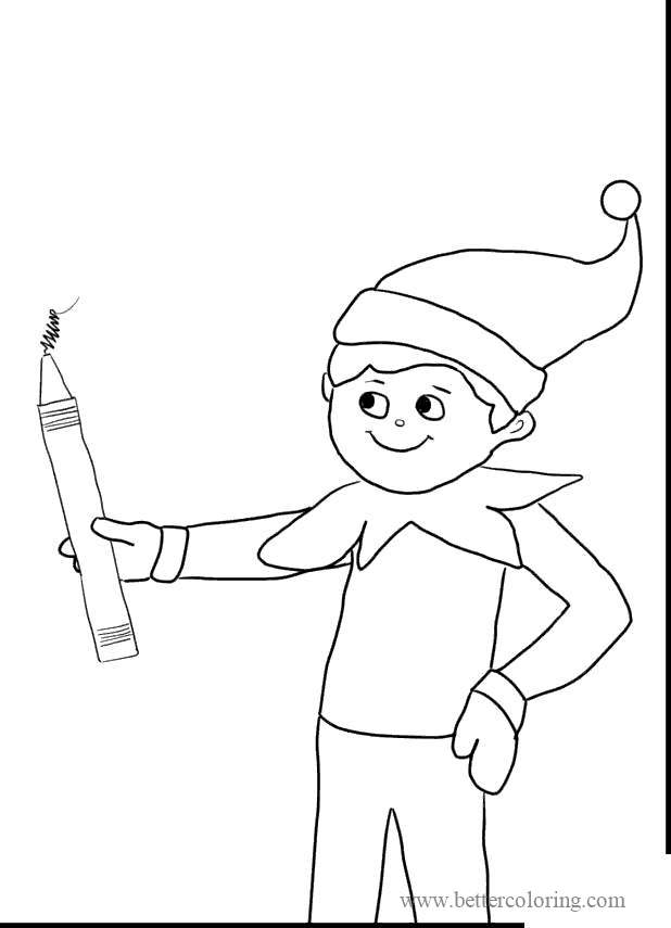 Free Elf On The Shelf Elf and Fireworks Coloring Pages printable