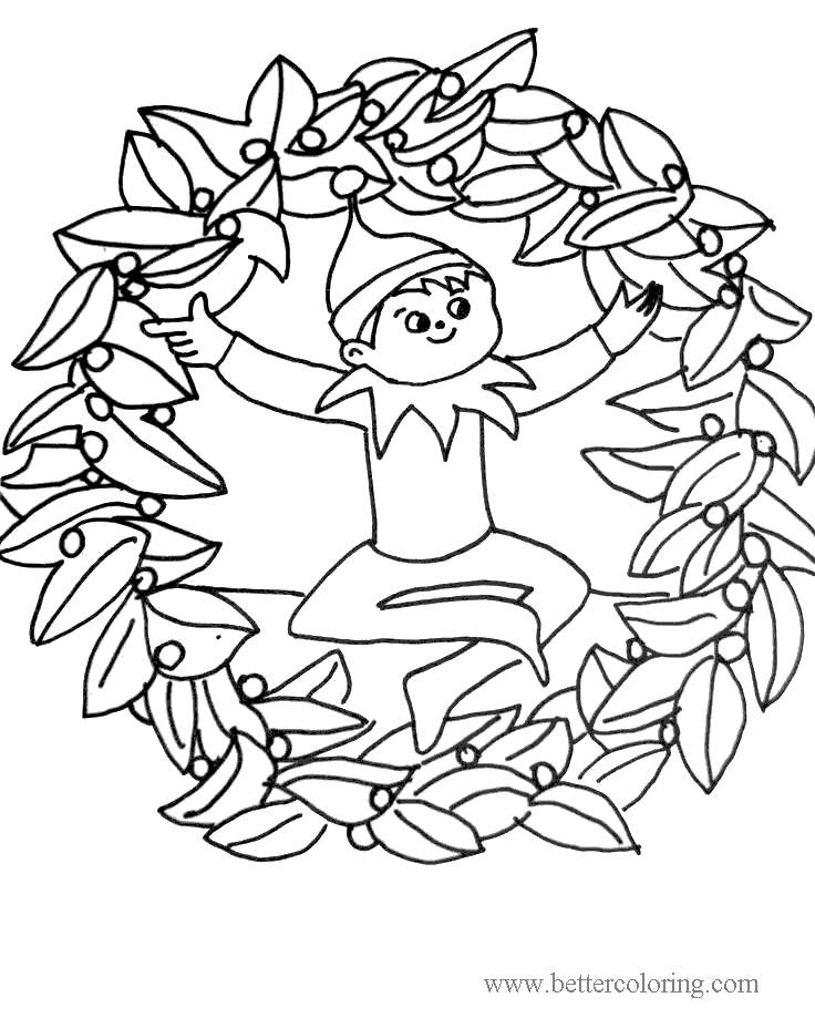 Free Elf On The Shelf Wreath Coloring Pages printable
