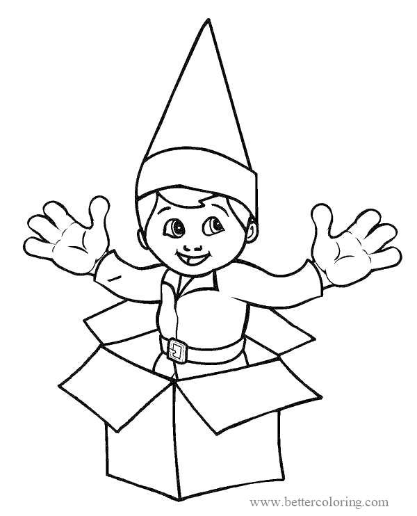 Free Elf in Box from Elf On The Shelf Coloring Pages printable