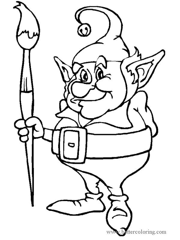 Free Elf with Brush from Elf On The Shelf Coloring Pages printable