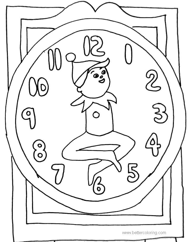 Free Elves Clock Coloring Pages printable