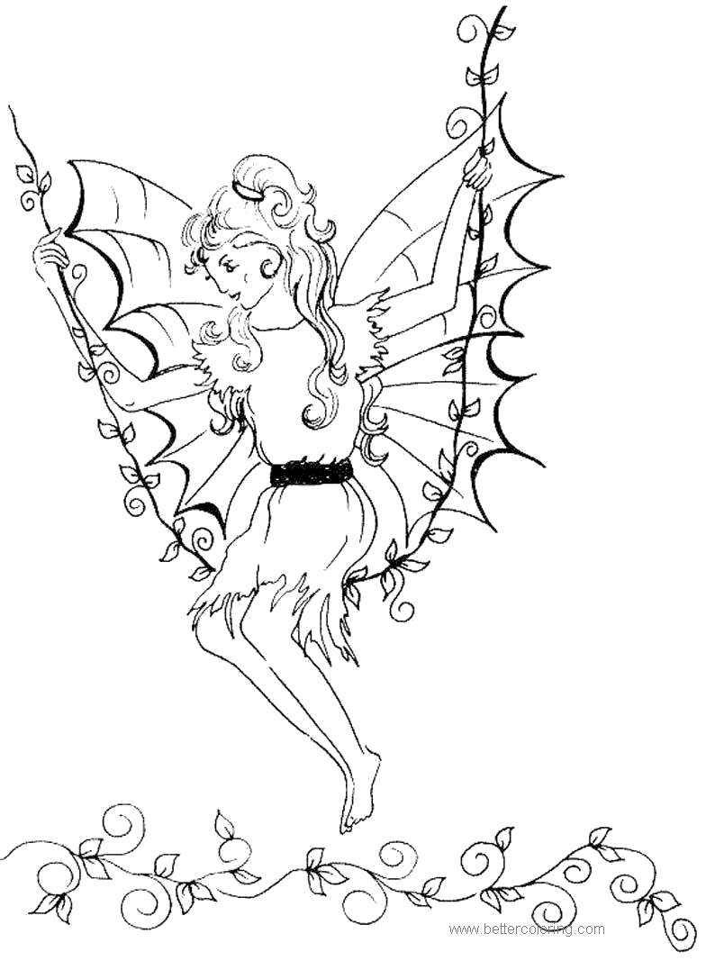 Free Elves Swinging Coloring Pages printable
