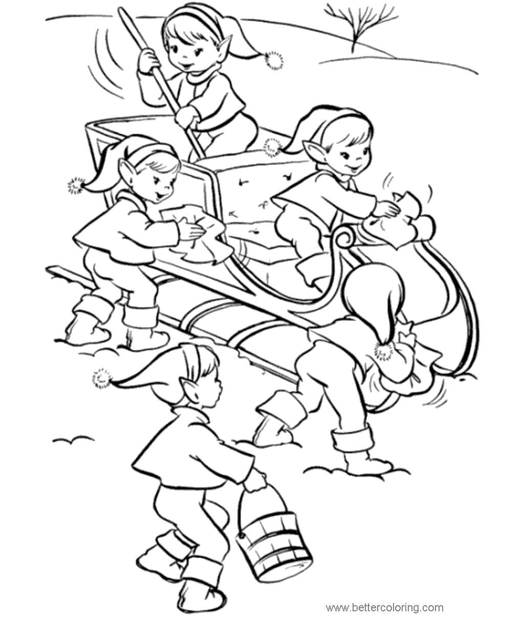 Free Evles Sleighing Coloring Pages printable
