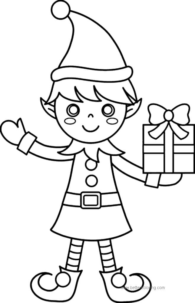 Free Evles with Christmas Present Coloring Pages printable