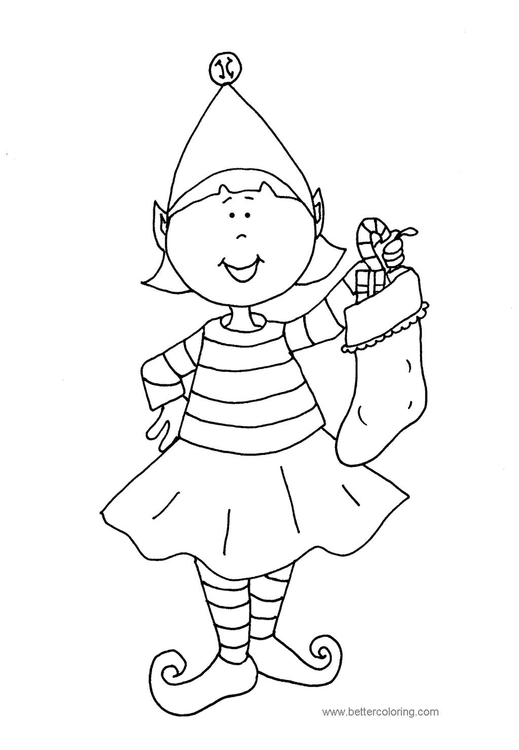 Free Evles with Stocking Coloring Pages printable