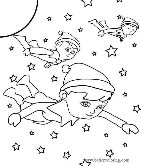 Free Flying Elves from Elf On The Shelf Coloring Pages printable