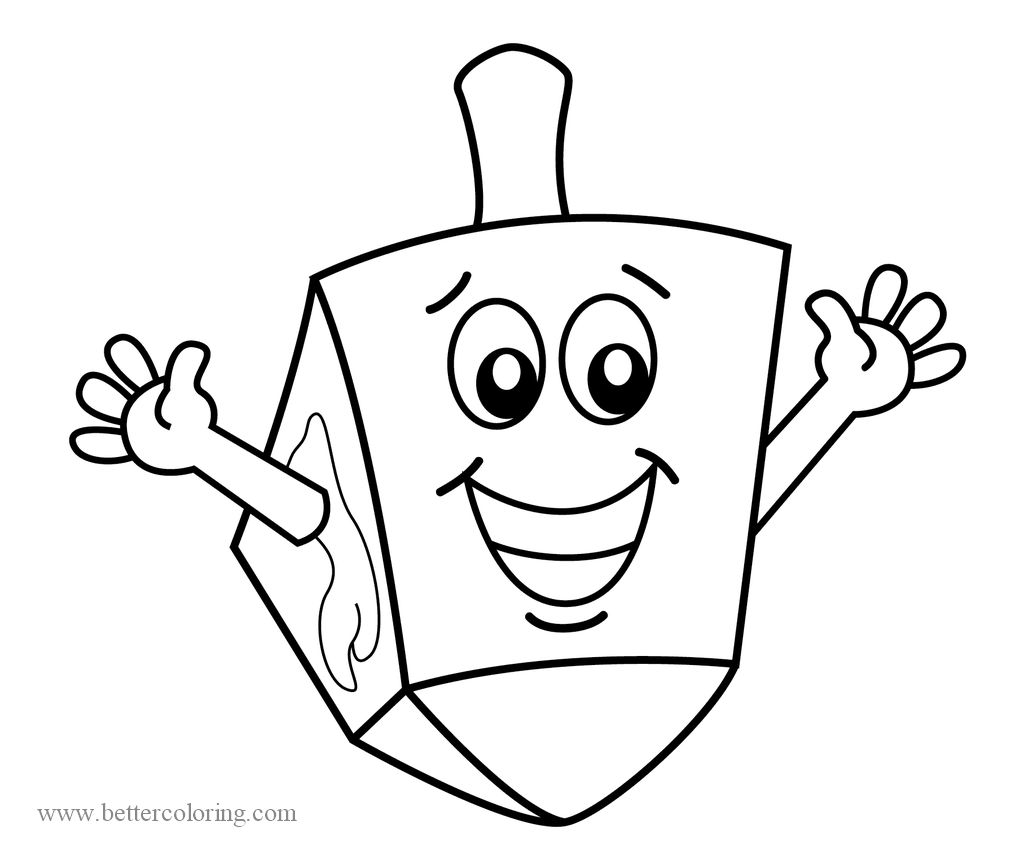 Free Happy Cartoon Dreidel Coloring Pages printable