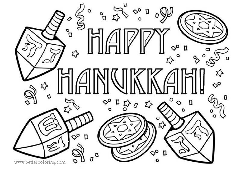Free Holiday Hanukkah Dreidel Coloring Pages printable